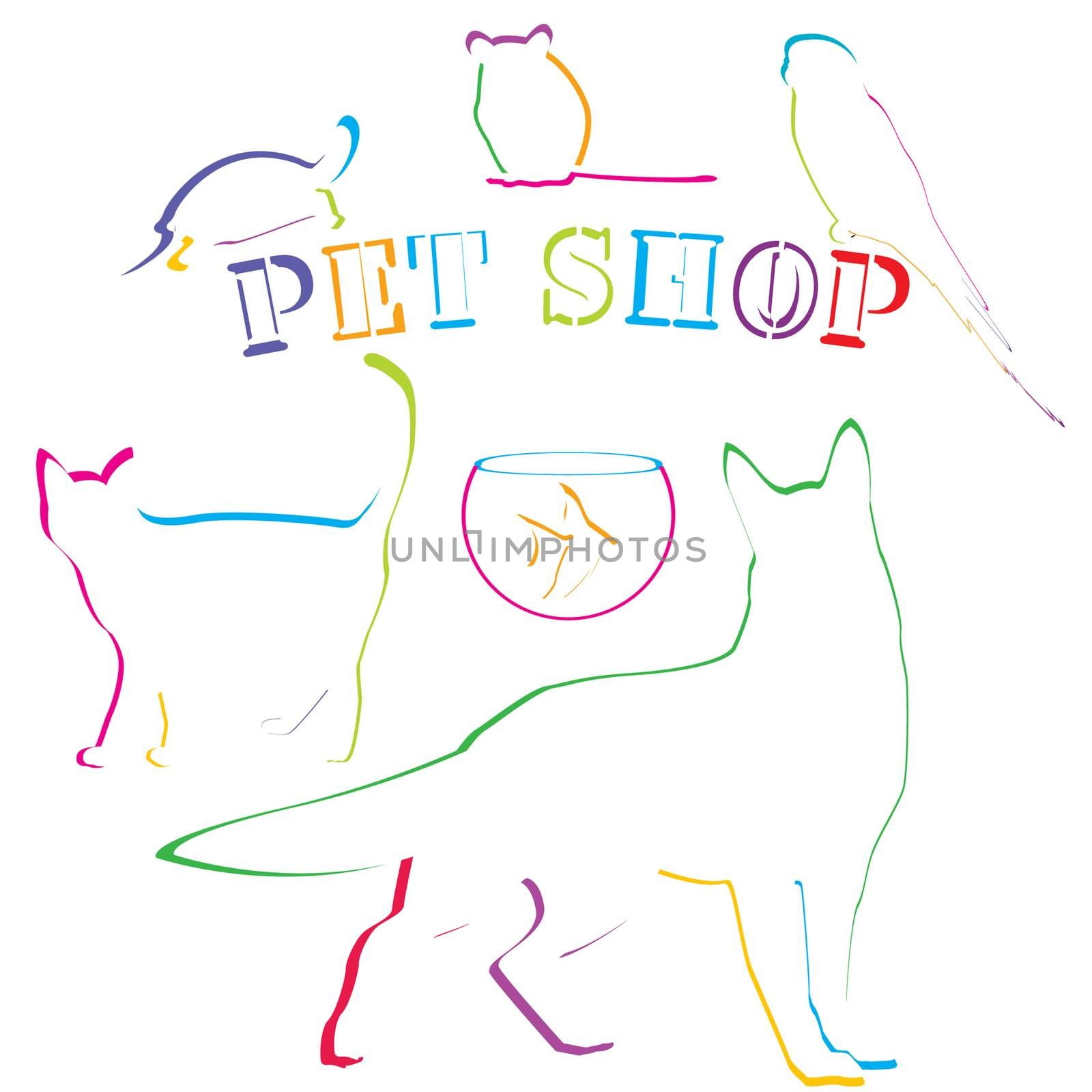 Pet shop design with colored hand drawn pets
