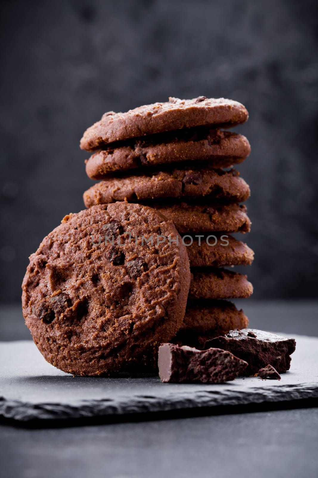 Stack of homemade chocolate and chocolate chips cookies