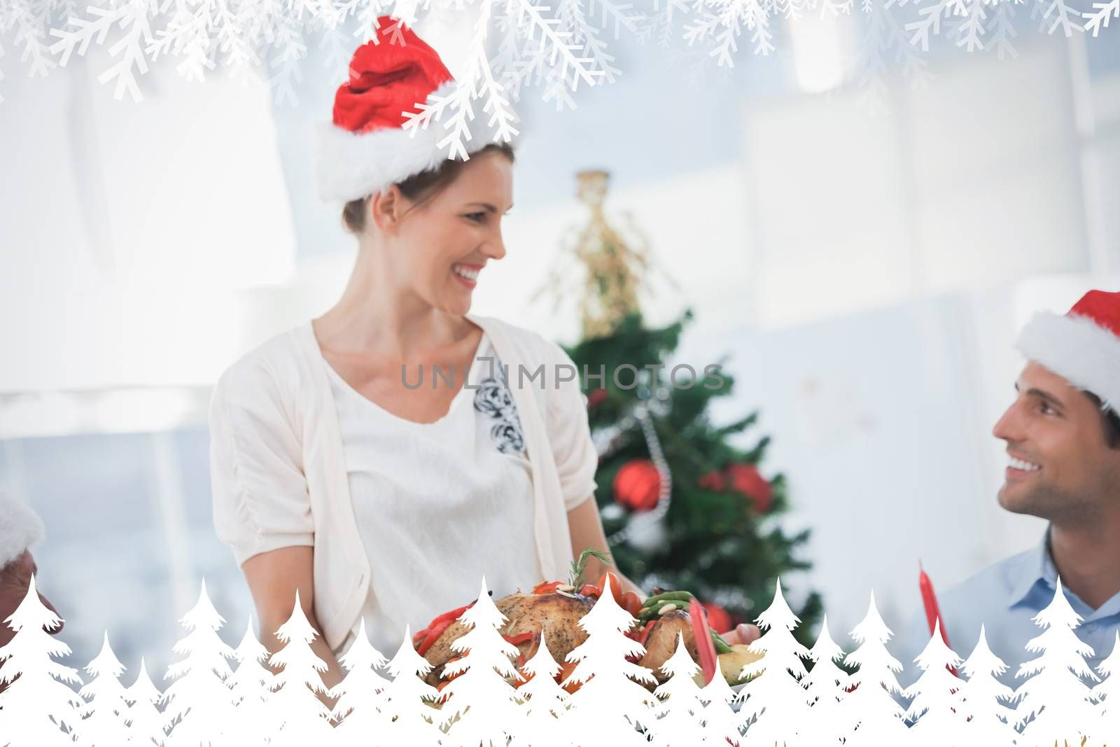 Cheerful woman wearing santa hat and bringing a roast chicken against fir tree forest and snowflakes