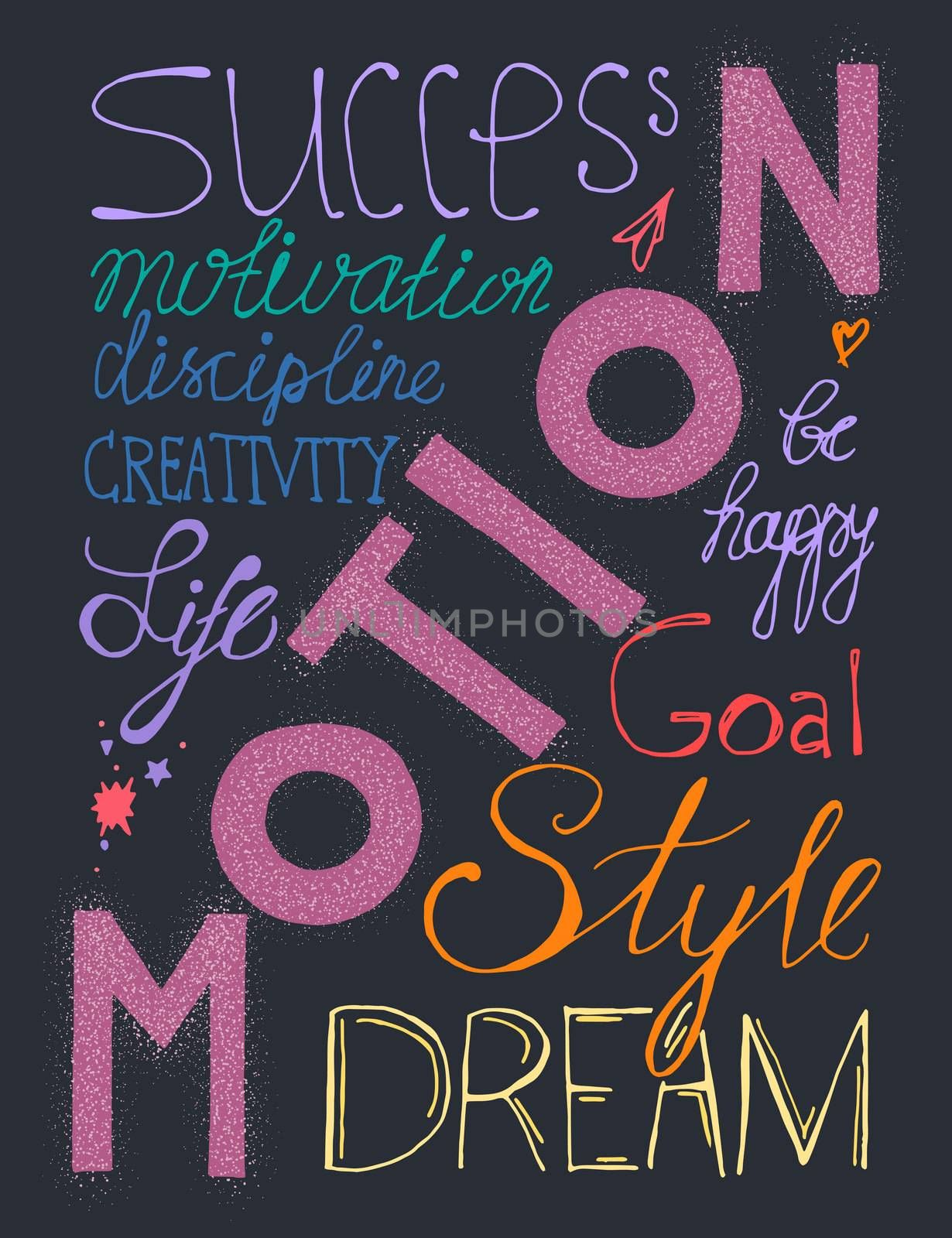 Vintage hand drawn lettering hipster composition with words about life, success and dream. Print,  typographic, greeting, poster, t-shirt design about love. Vector
