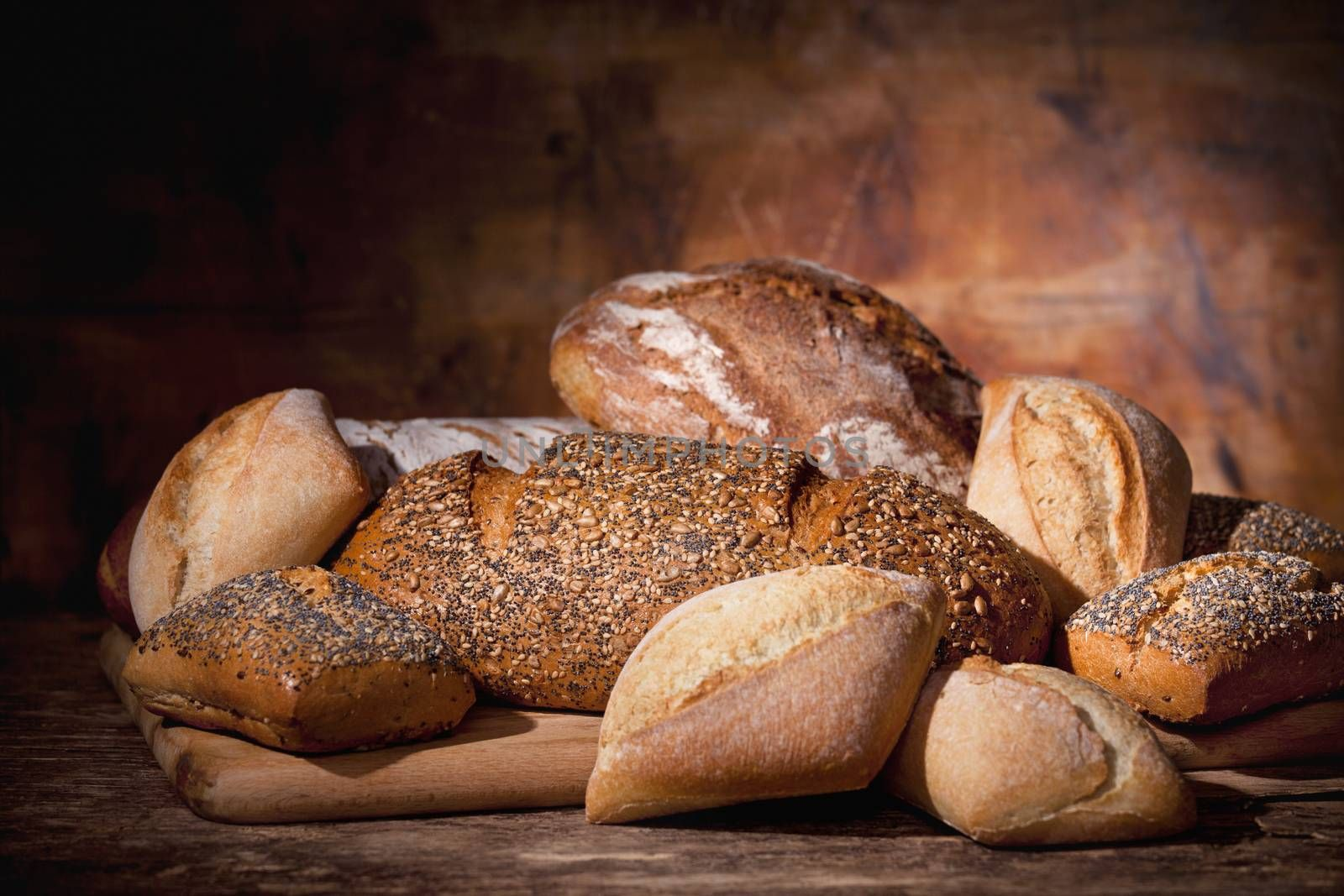 Assortment of a variety of breads straight out of the oven