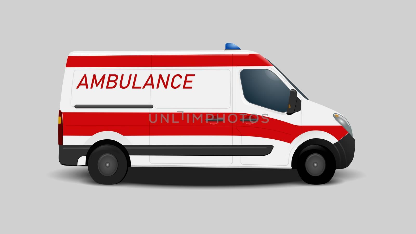 An illustration of a typical ambulance car transportation aid
