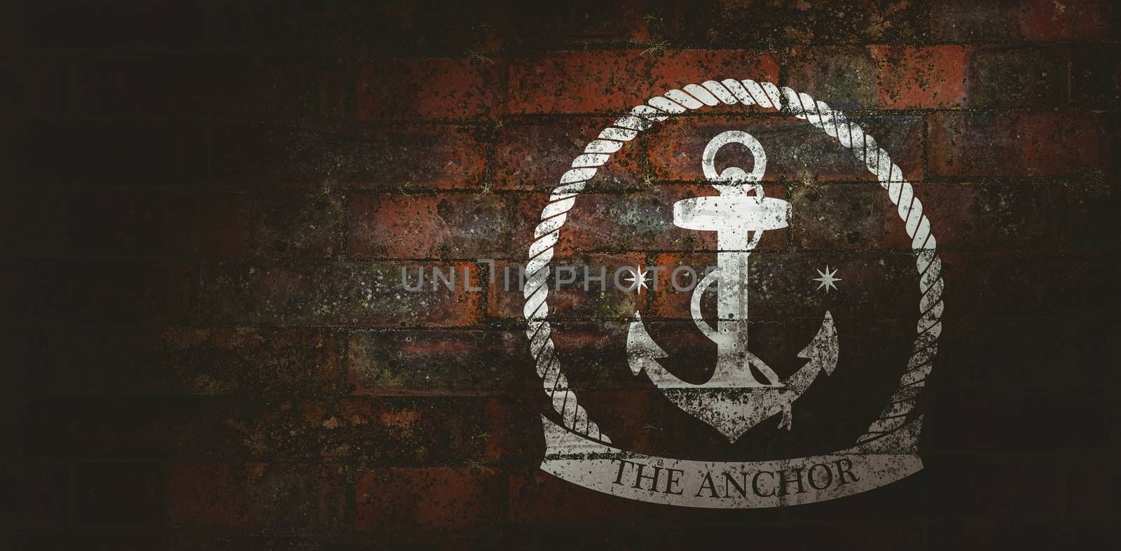 The anchor icon against texture of bricks wall