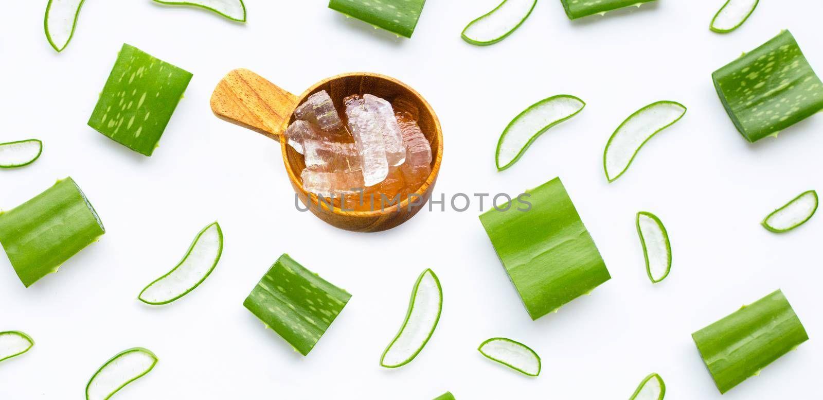 Aloe vera is a popular medicinal plant for health and beauty, on a white background.