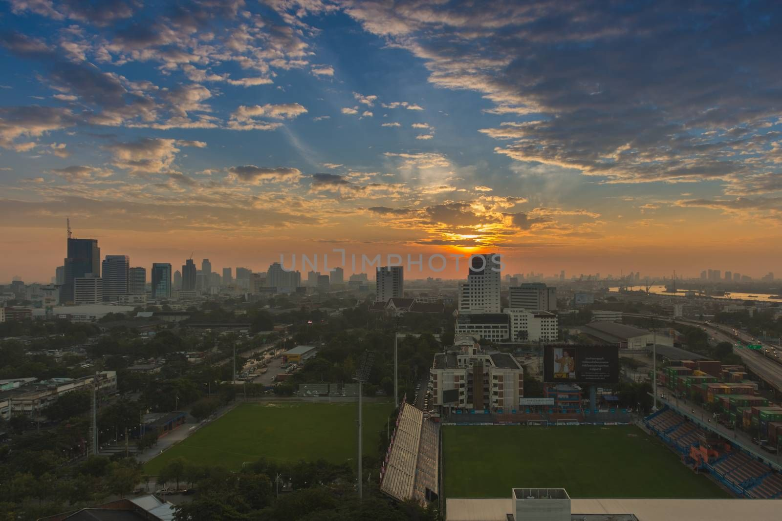 Bangkok, Thailand - December 30, 2016 : Sunshine morning time of Bangkok city with PAT Football stadium. Bangkok is the capital and the most populous city of Thailand.