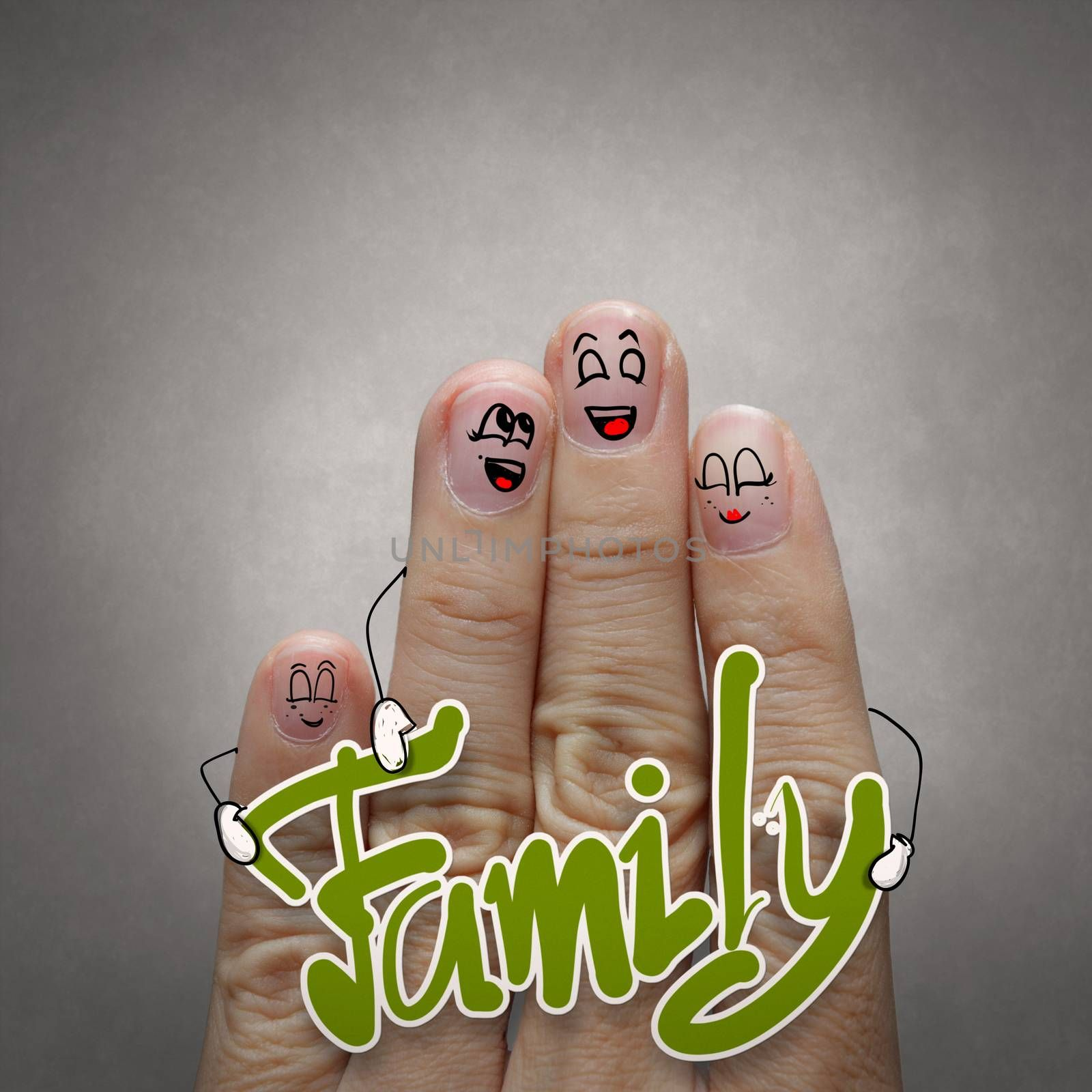 A happy finger family holding family word