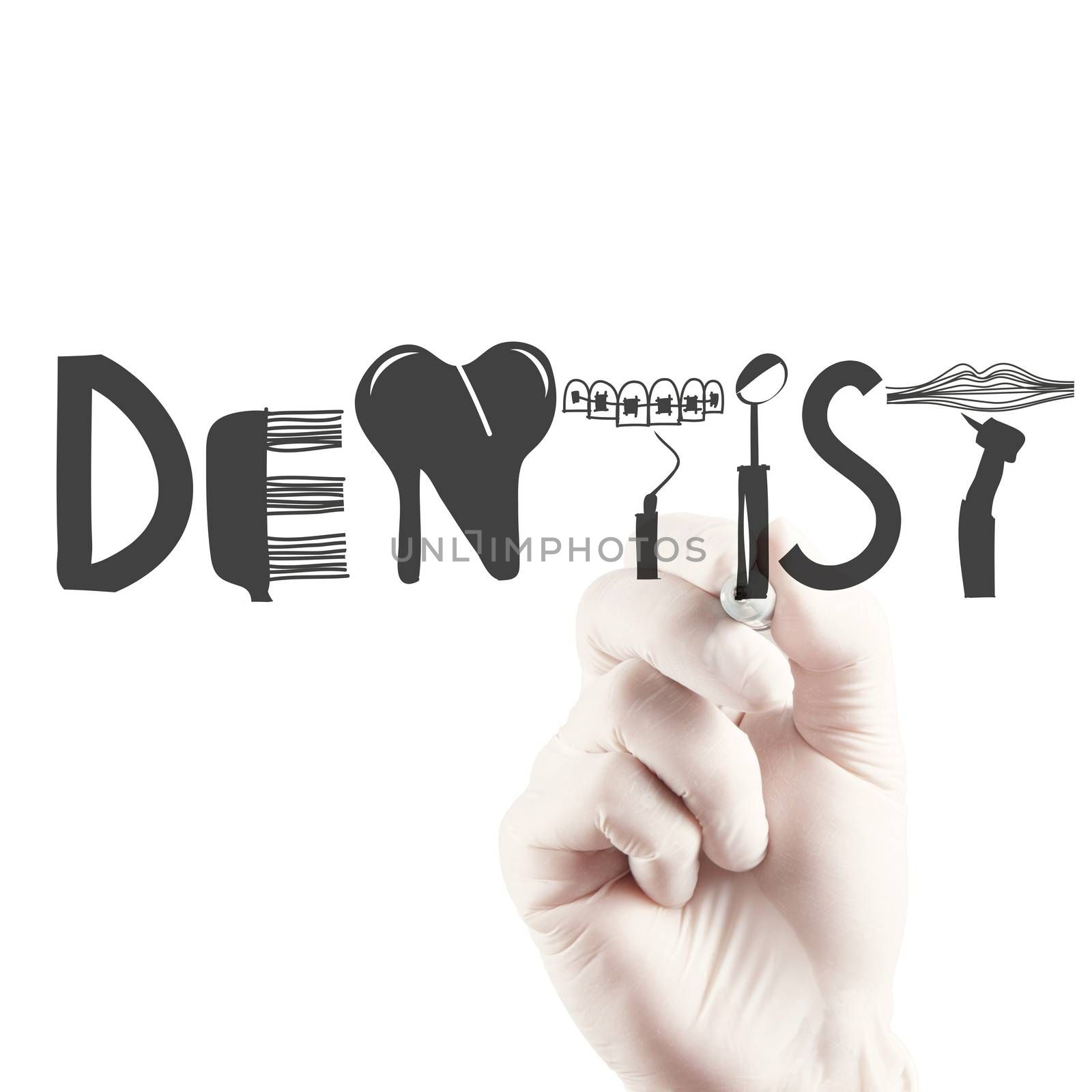 doctor hand drawing design word DENTIST as concept