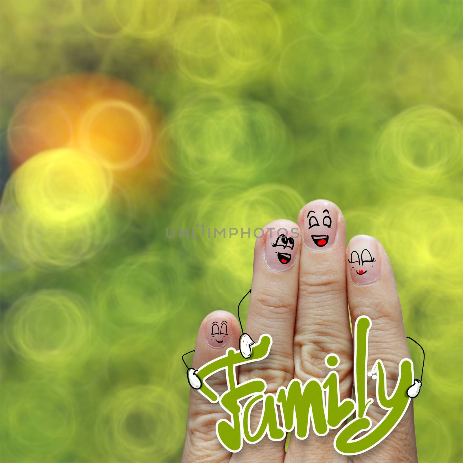 the happy finger family holding  family word