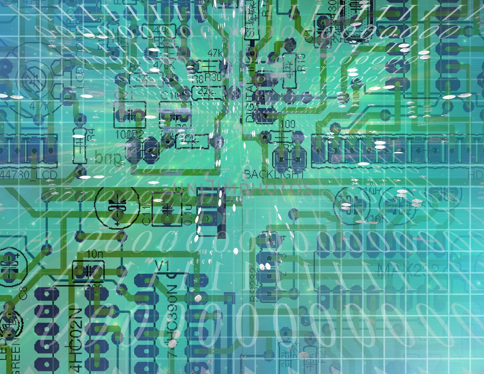 Green mainboard and binary code
