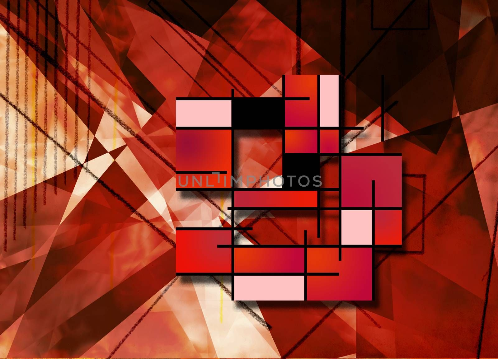 Geometric abstract in red colors