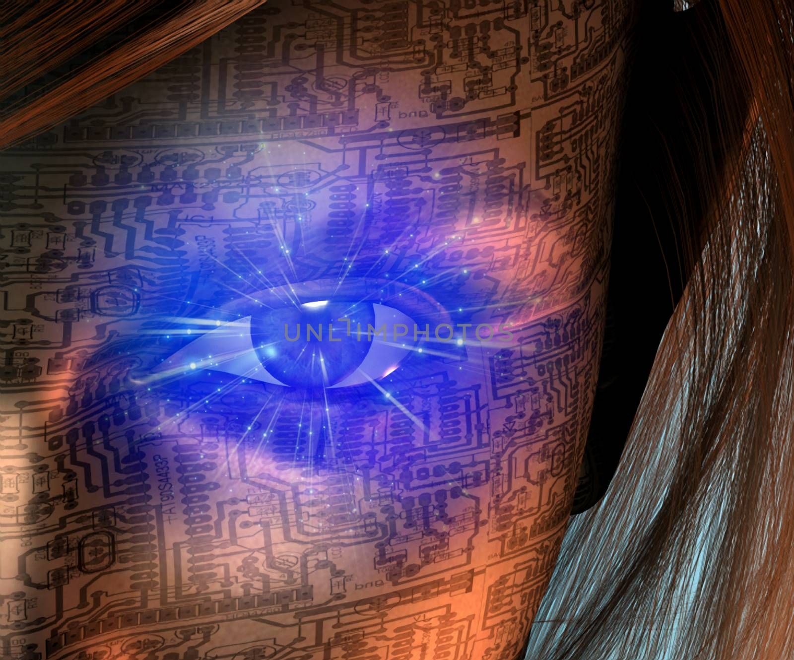 Technology Human. Woman face with electric circuit pattern and glowing eye