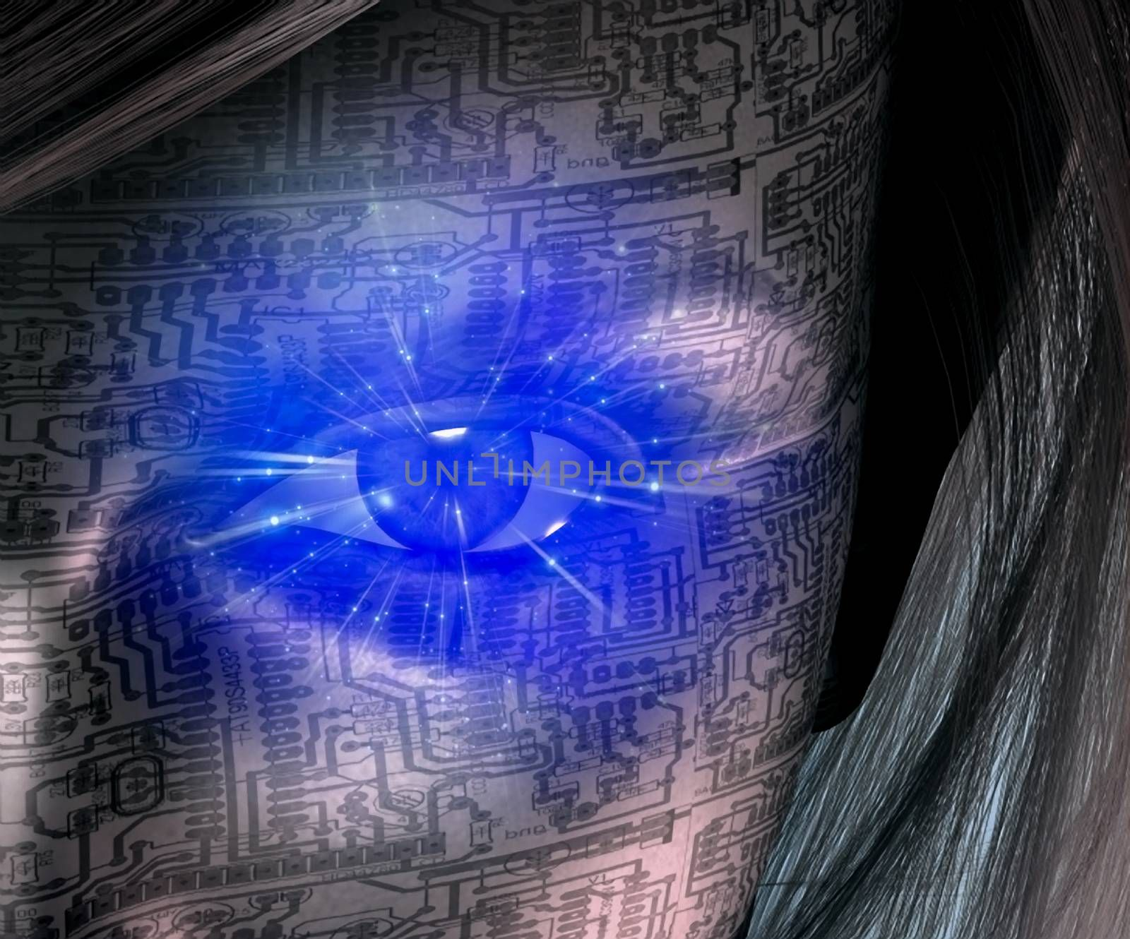 Technology Human. Woman face with electric circuit pattern