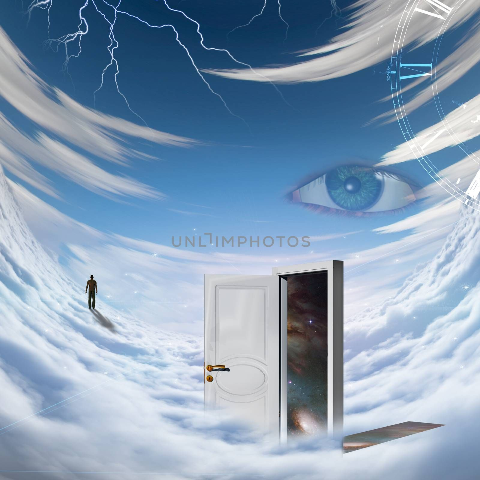 Surrealism. Spiral of time. Lonely man in a distance. Opened door to another dimension.