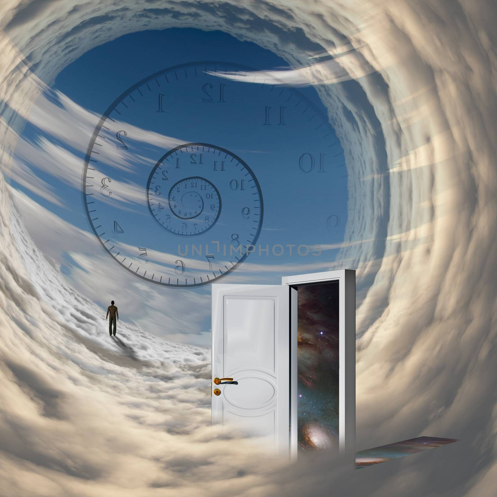 Surrealism. Spiral of time. Lonely man in a distance. Open door to another dimension. Time travel