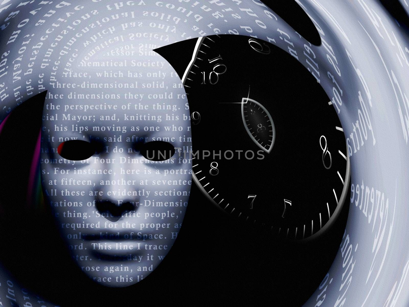 Mask with text and spiral of time