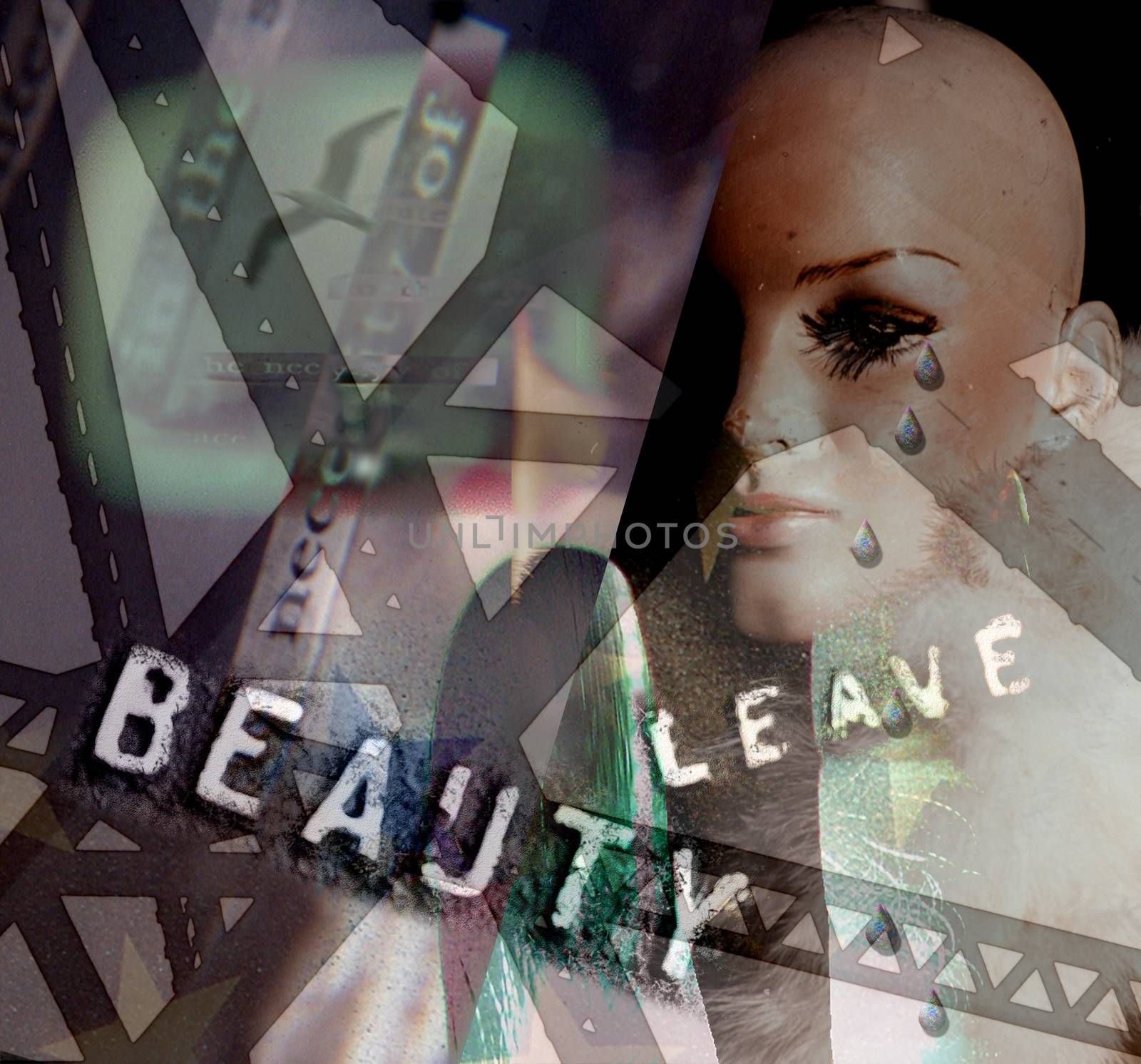 Symbolic composition. Leave the Beauty. Mannequin head