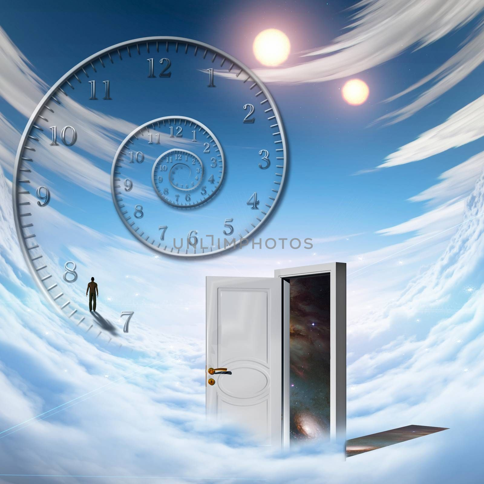 Surrealism. Spiral of time. Lonely man in a distance. Opened door to another dimension
