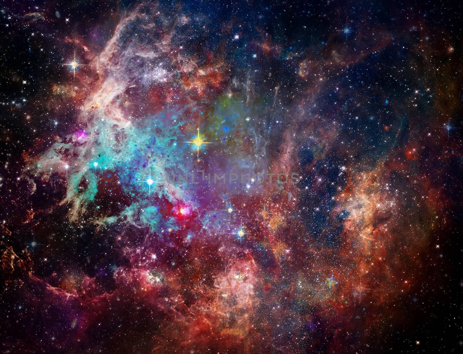 Big Babies in the Rosette Nebula. Vivid space