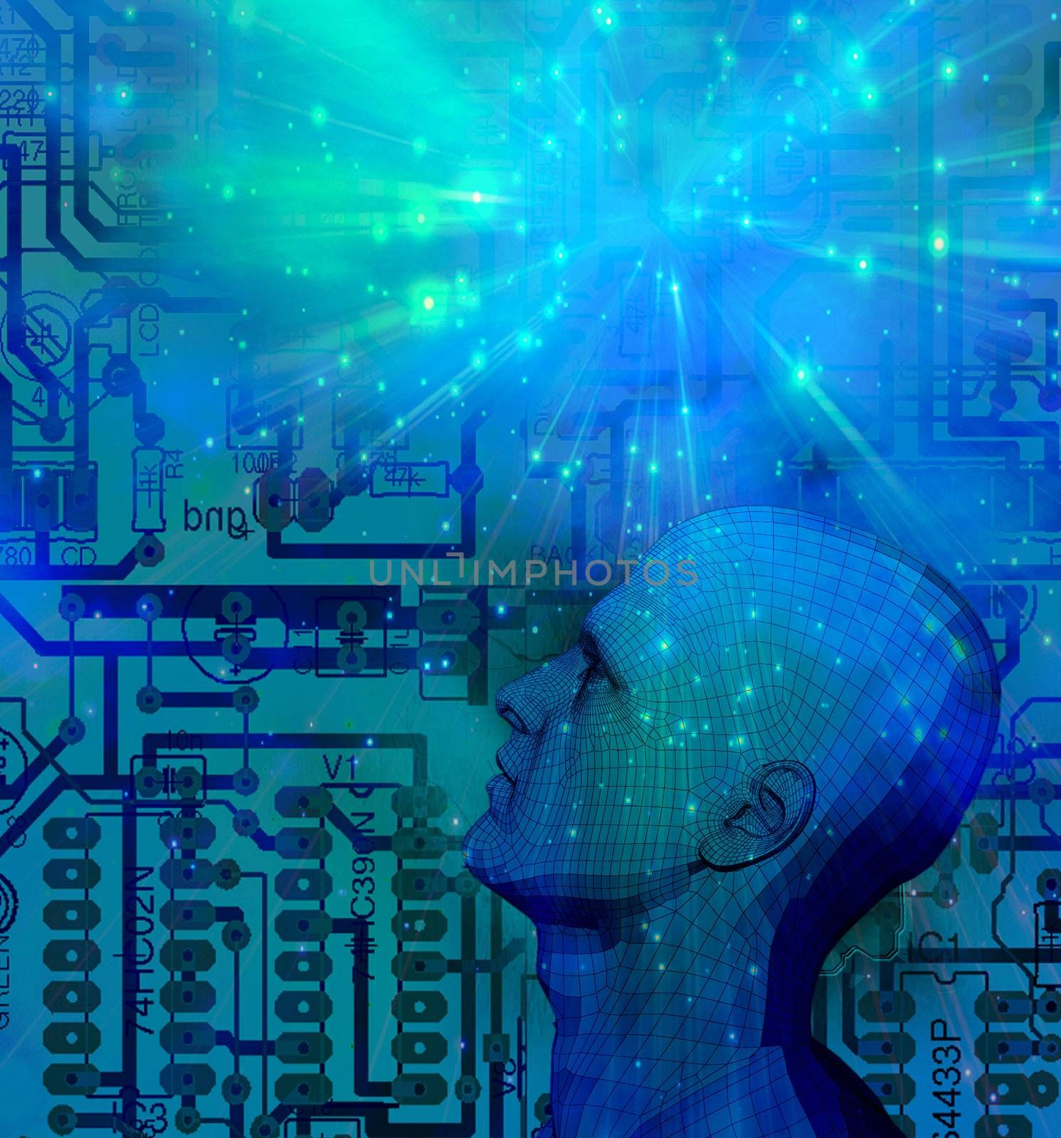 Mind Technology. Droid on electronic circuit background