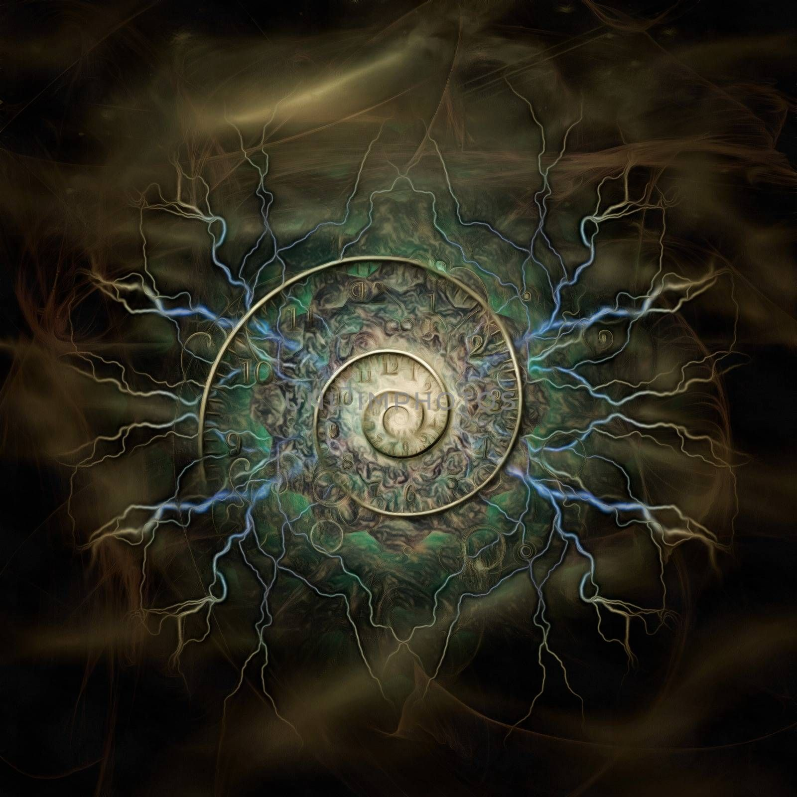 Surreal painting. Spiral of time and lightnings. 3D rendering