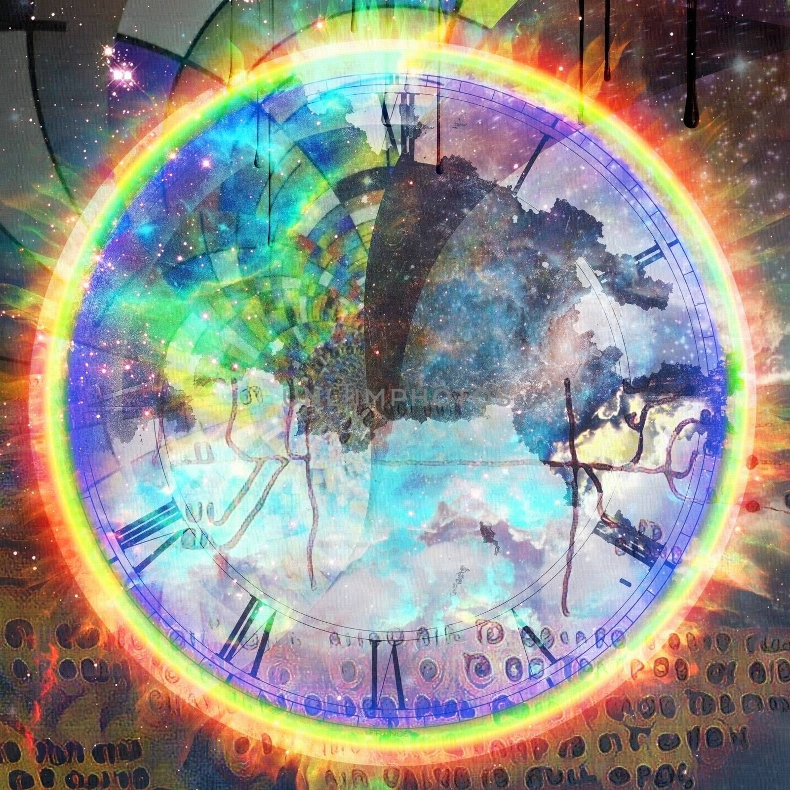 Time concept. Clock face and modern abstract background. 3D rendering