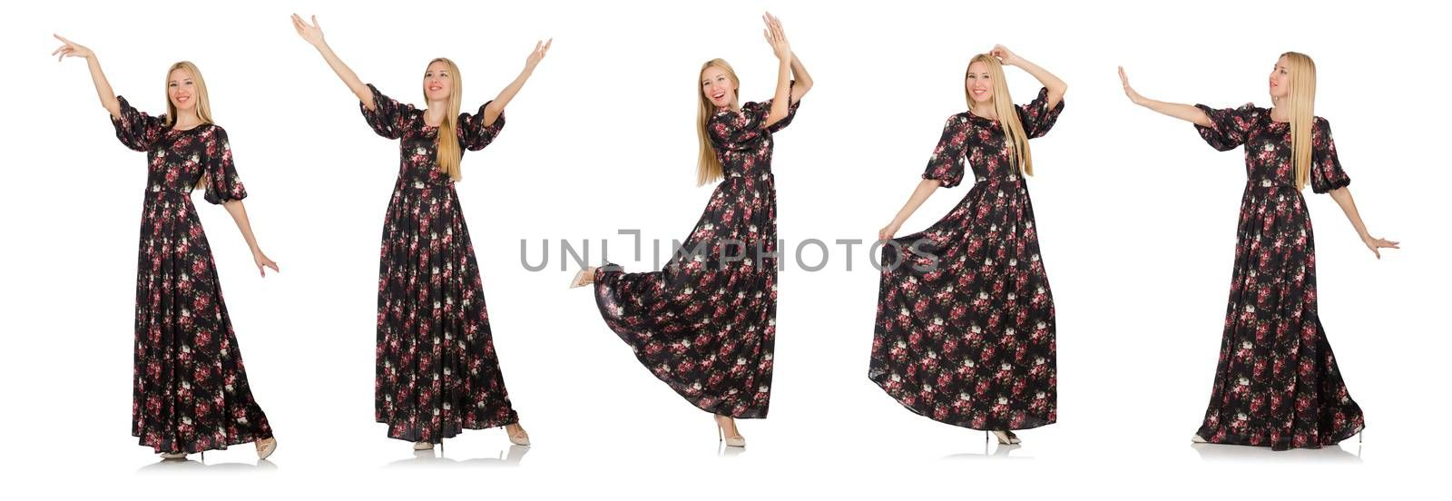 Pretty woman in romantic dress isolated on white