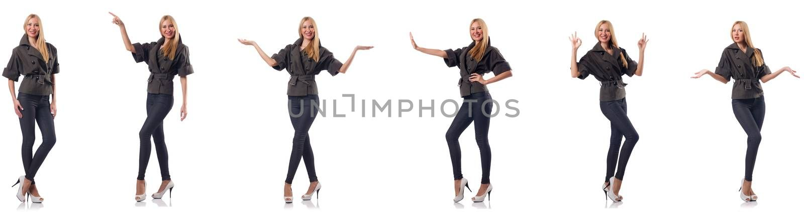 Woman in fashion clothing isolated on white