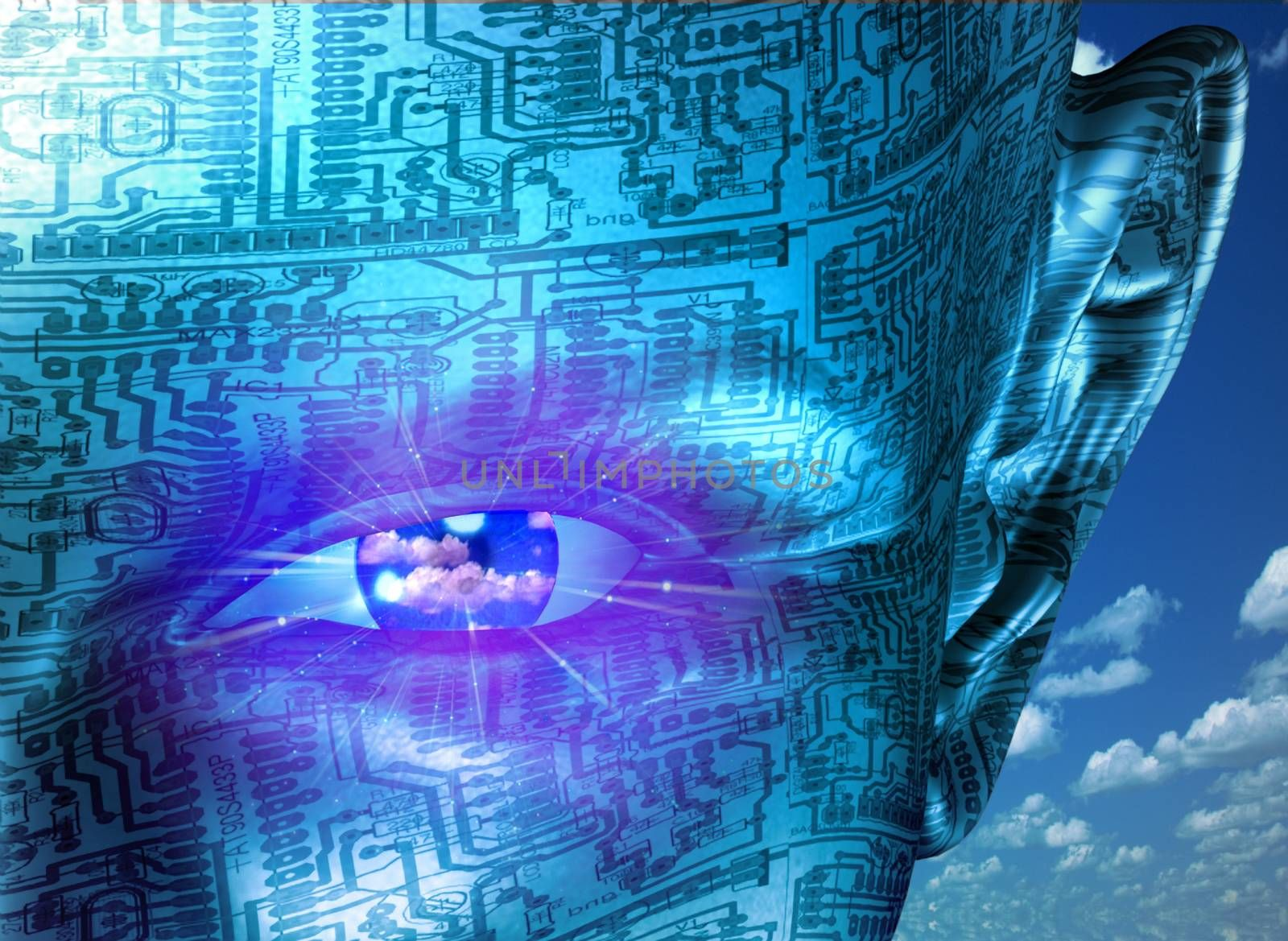 Technology Human. Wonam face with electronic circuit background. 3D rendering