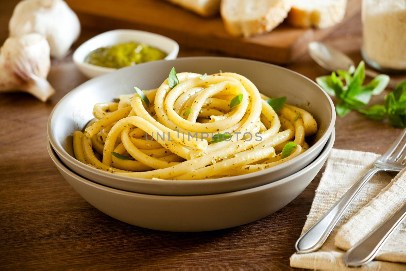 Bowl of pasta with homemade pesto sauce