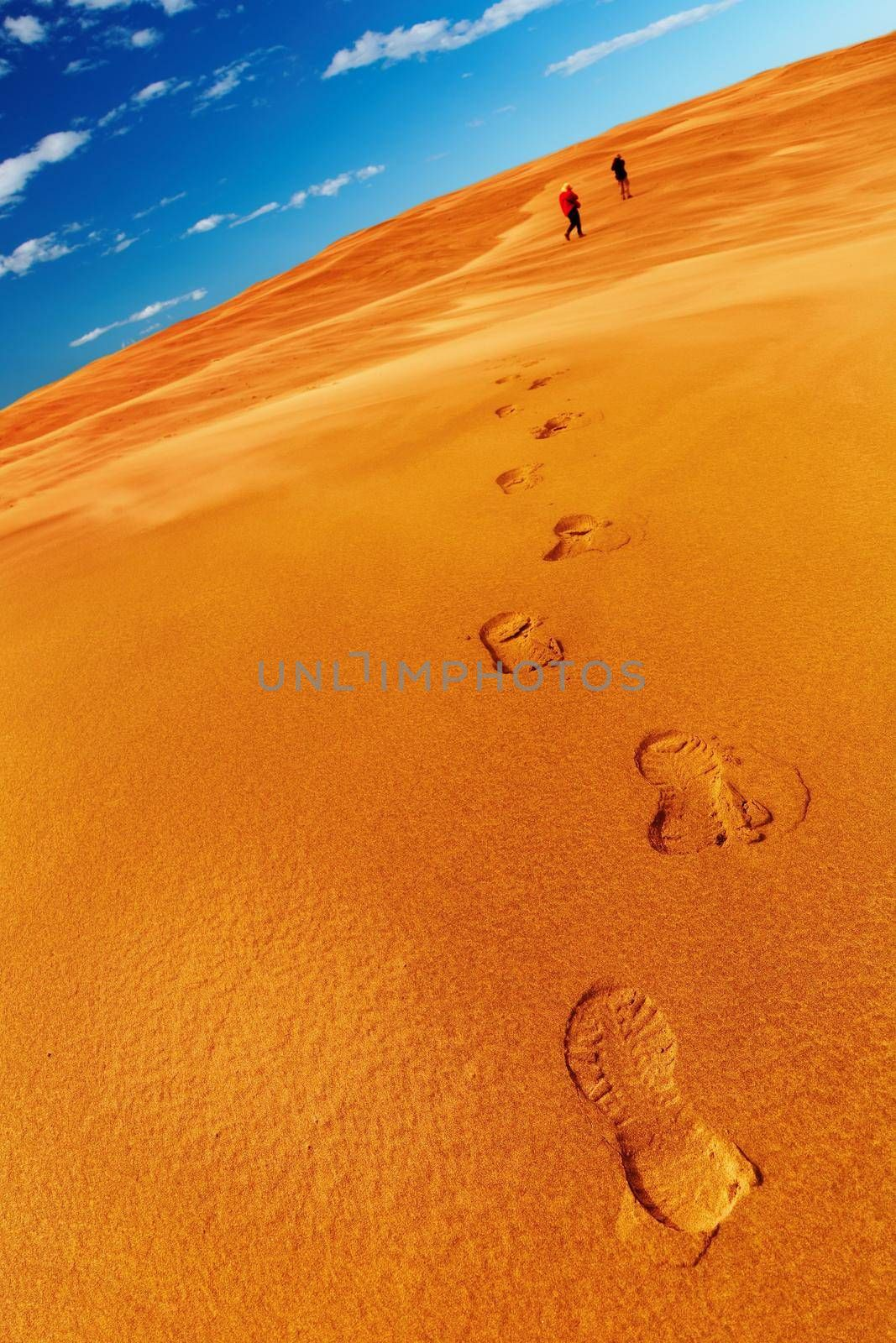 People in desert, sand dune climbing