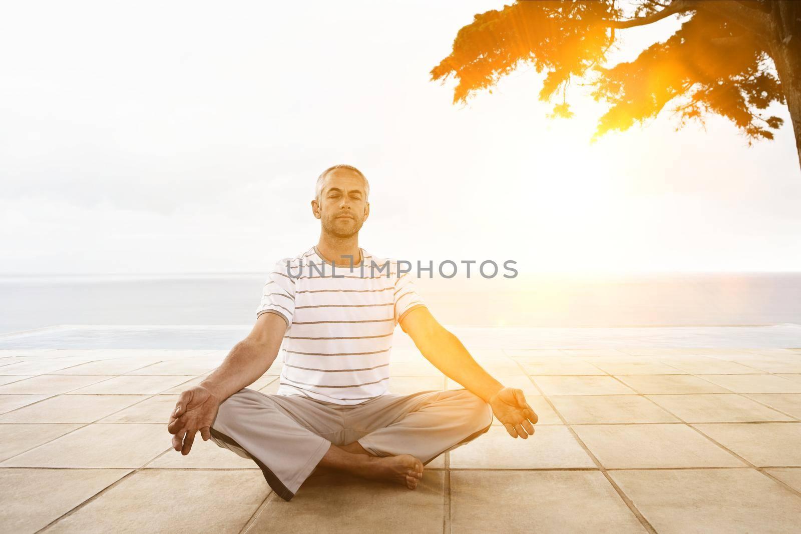 Photo of man doing yoga during lockdown