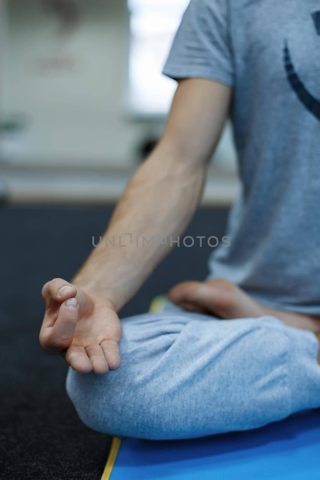Young man doing yoga