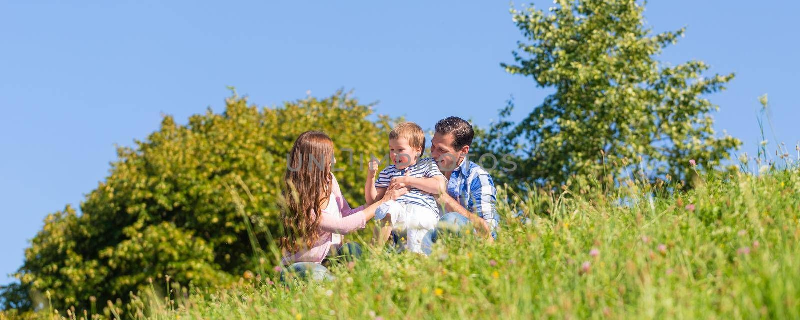 Family in grass on meadow