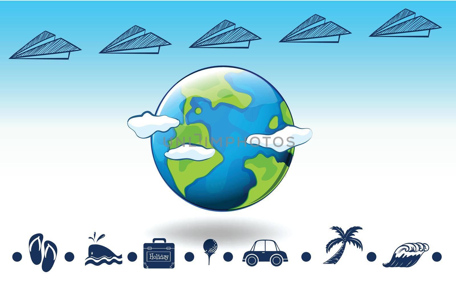Illustration of a travel around the globe