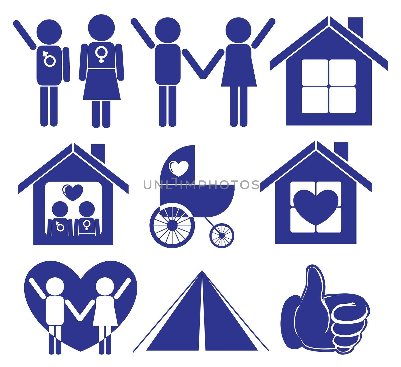 Illustration of a family planning on a white background