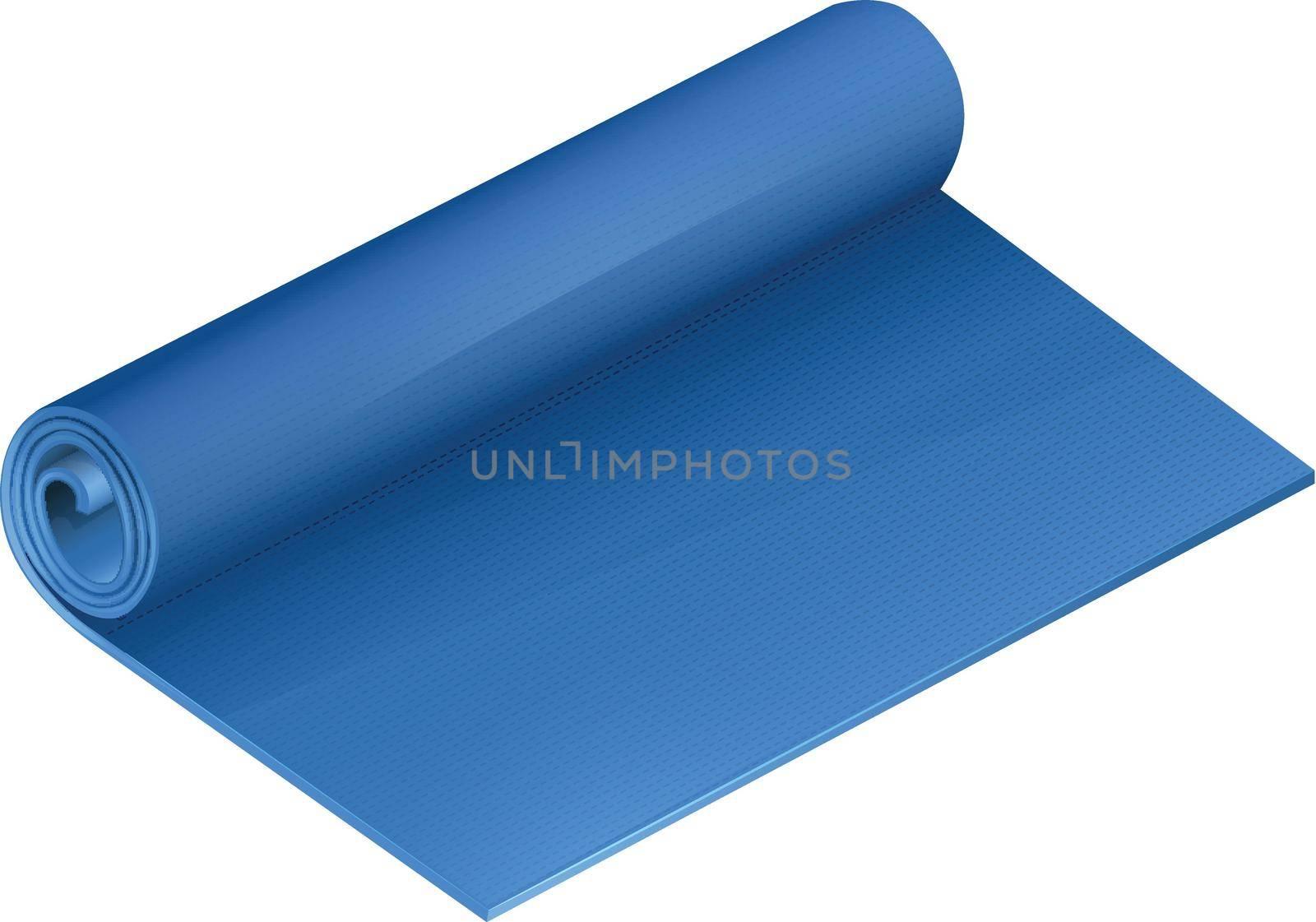 Blue yoga mat on white illustration