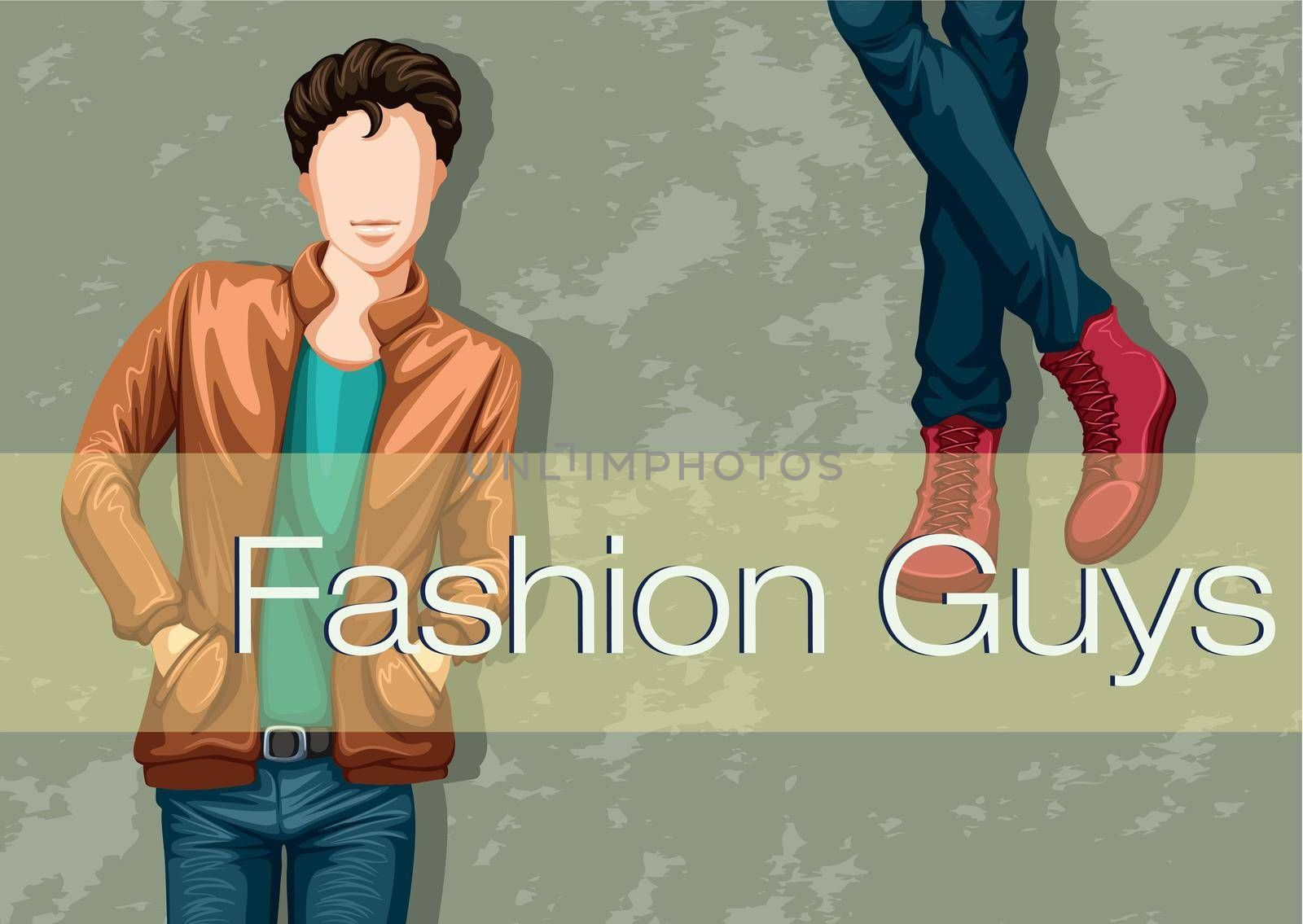Male fashion with model and text