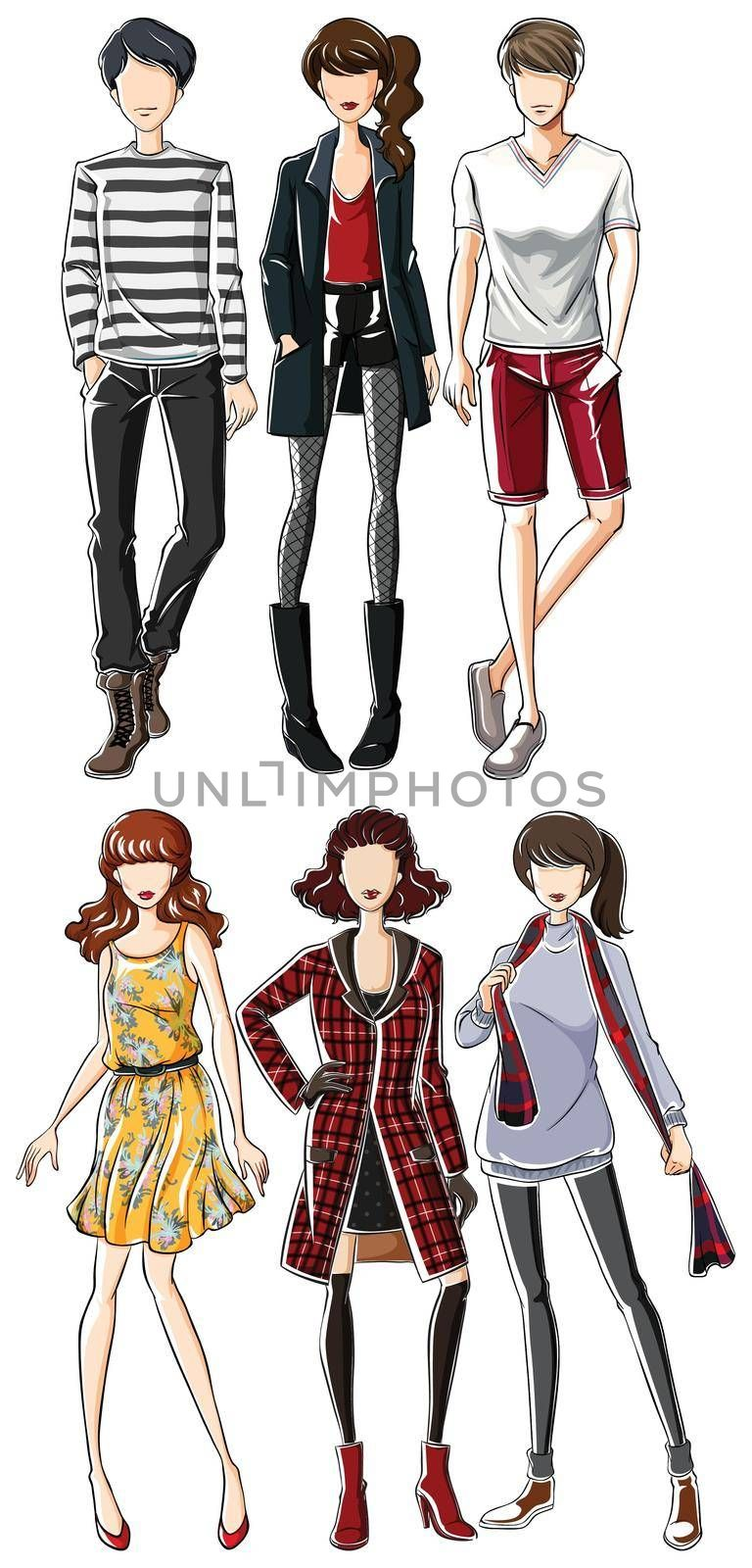 Group of models wearing fashionable clothes man and woman