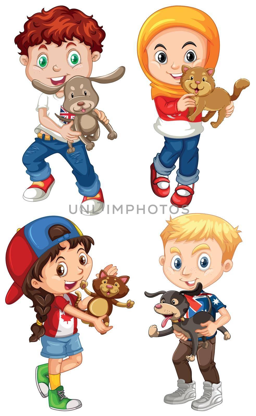 Children hugging their pets illustration