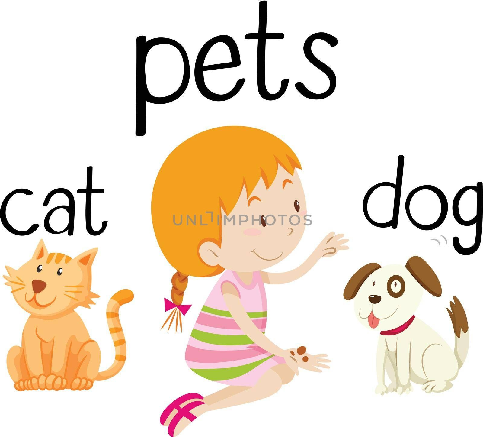 Little girl and her pets illustration