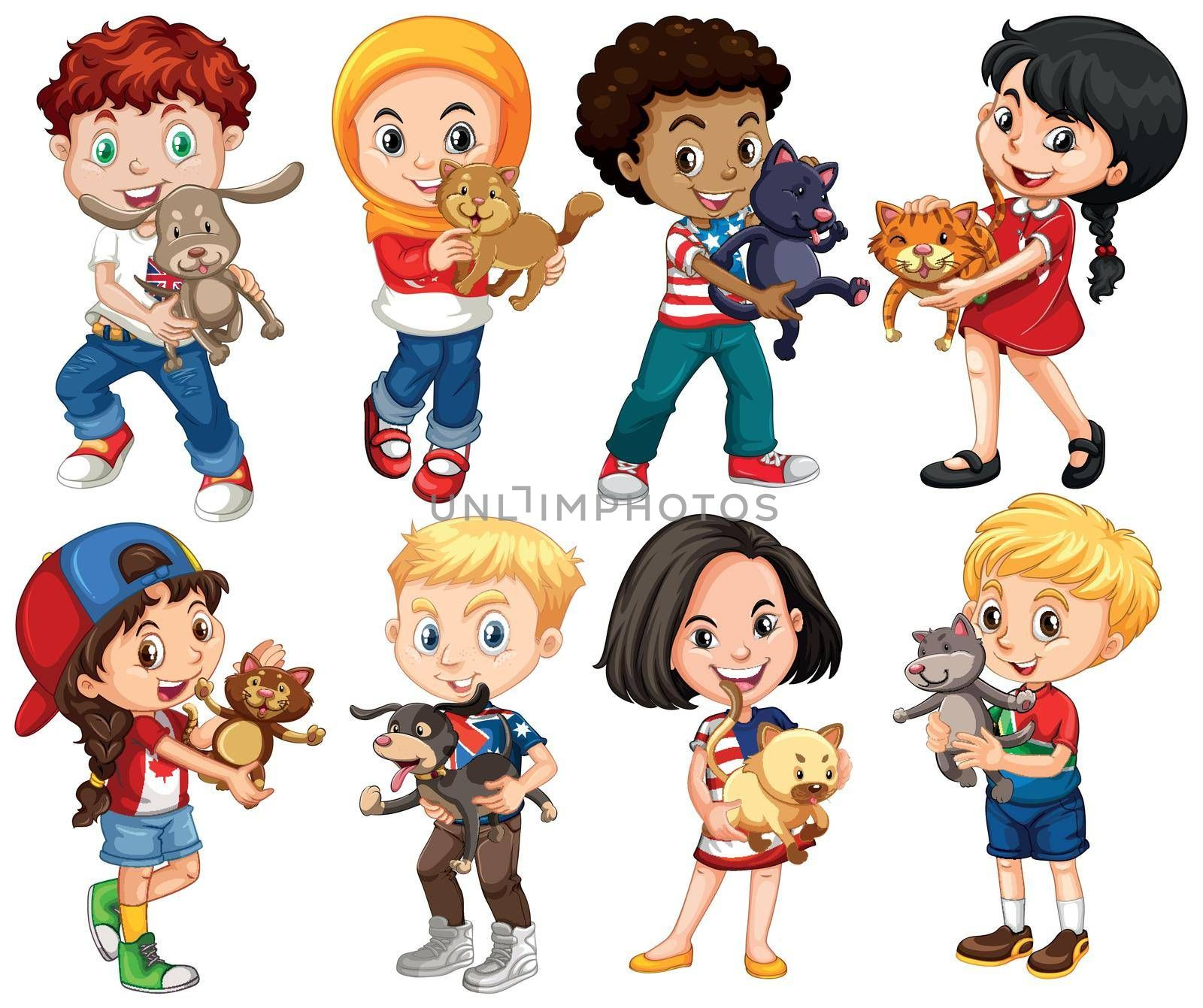Boys and girls with their pets illustration
