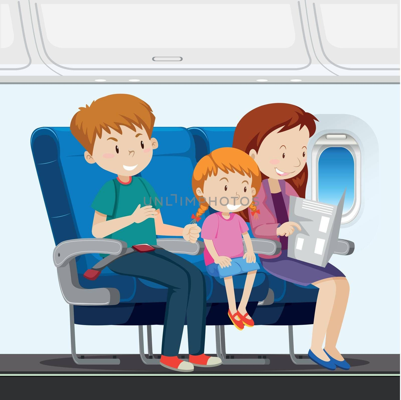 Family on the airplane illustration