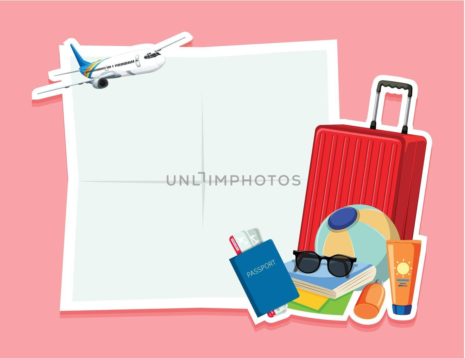 Blank note with travel object illustration