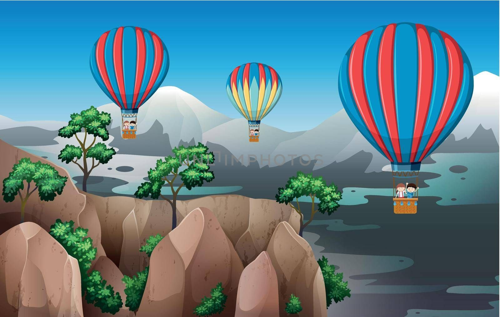 Travel with hot air balloon illustration