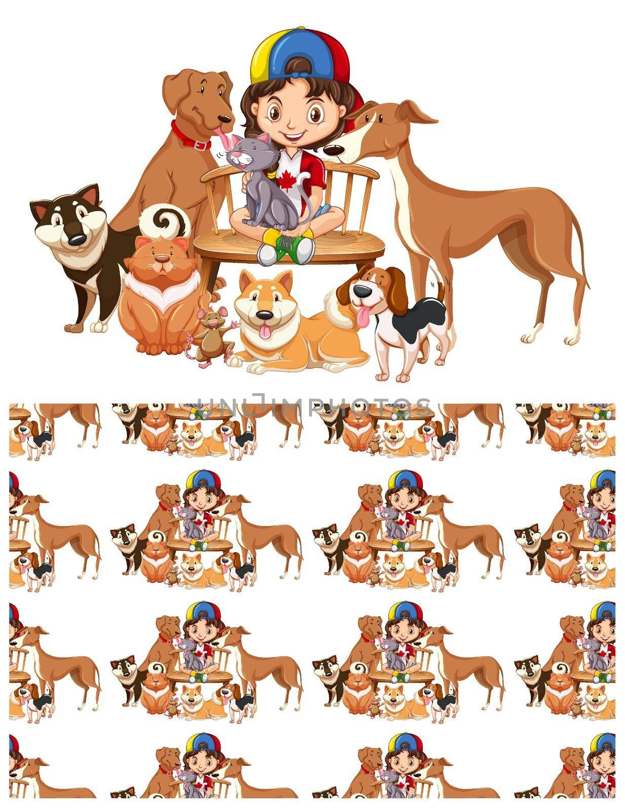 Seamless background design with girl and pets illustration