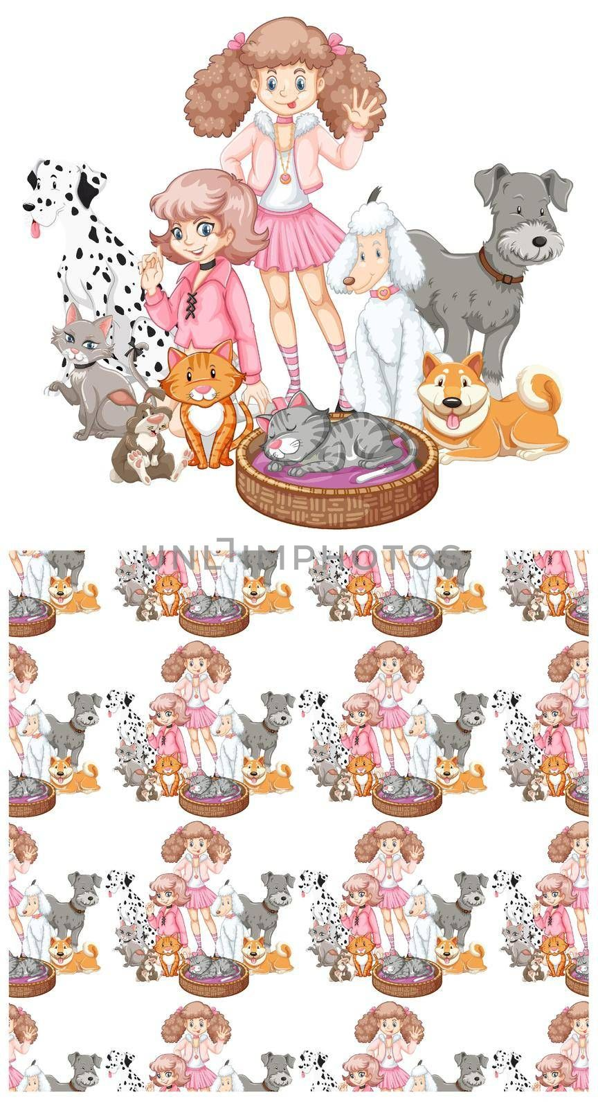 Seamless background design with girls and pets illustration