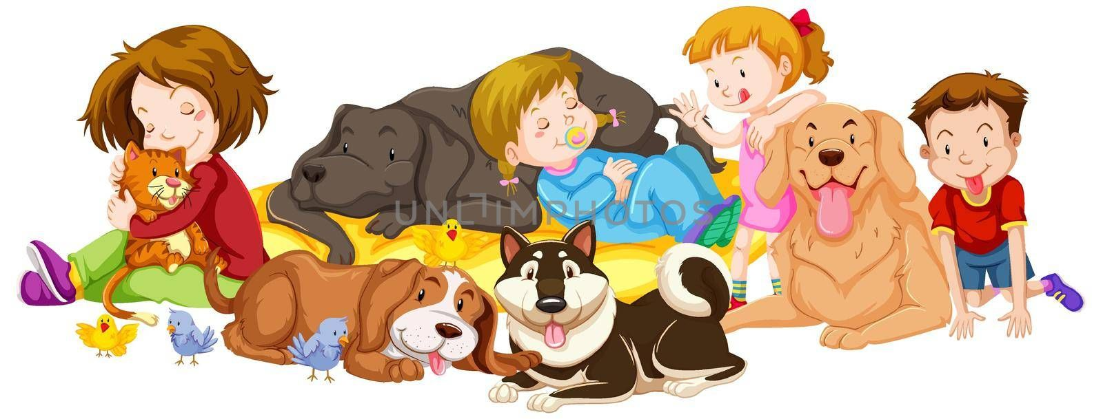 Many kids and pets on white background illustration