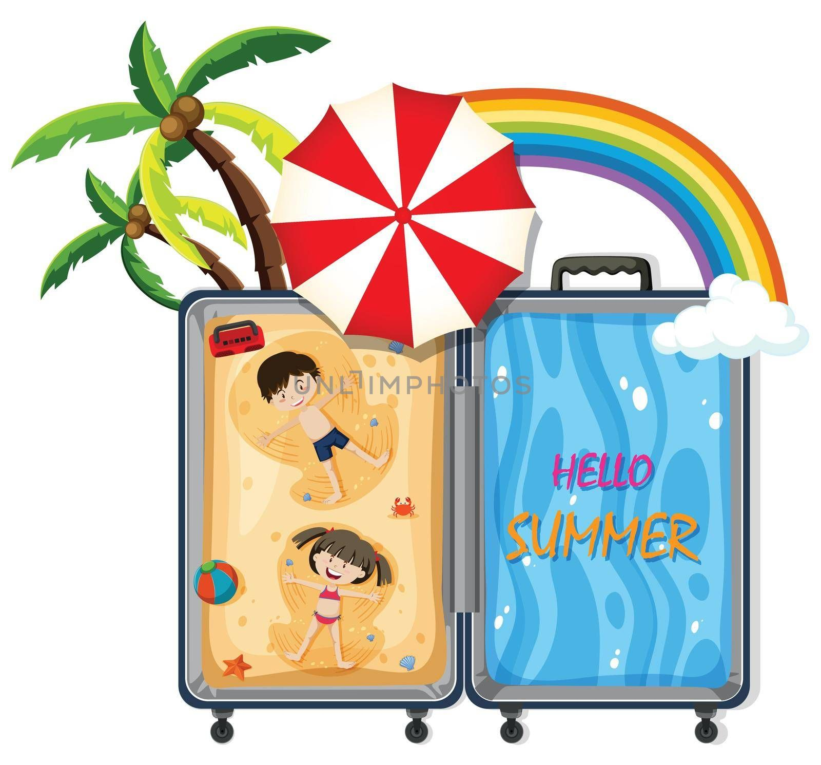 A luggage with beach travel illustration