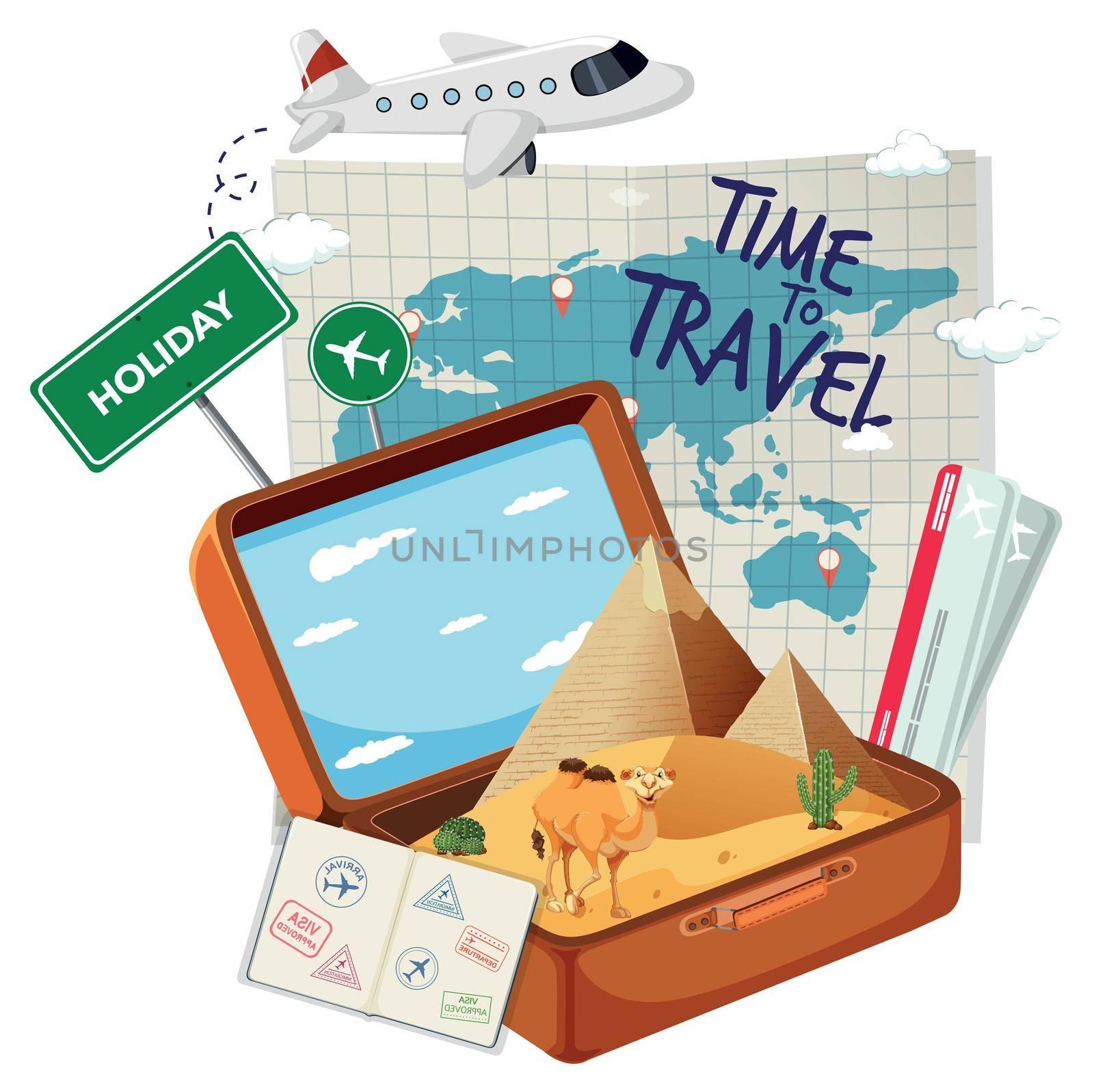 Vintage suitcase with travel element illustration