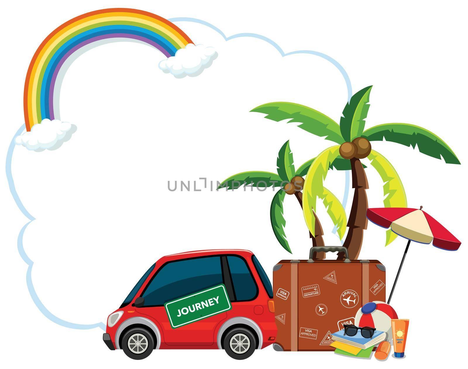 Travel element on blank template illustration